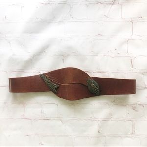 [Fiocchi Italy] brown leather wrap belt small